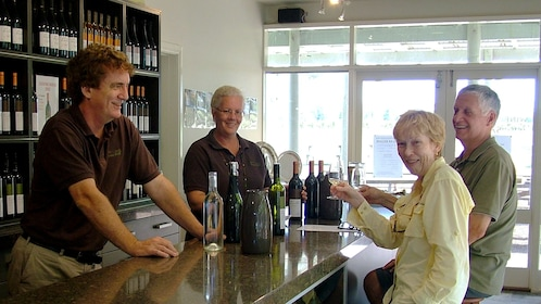 Couple enjoys some wine at a cellar in the Hunter Valley region