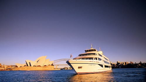 Splendid view of Sydney Harbour with the prestigious cruise ship is on the waters