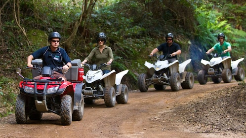 Trail of guests on quad-bike ATVs at Glenworth Valley