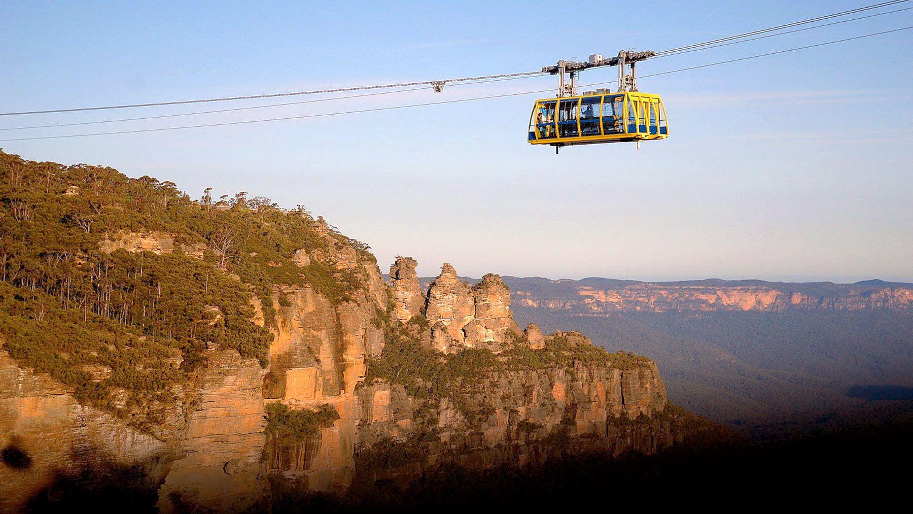 Gondola over the scenic Blue Mountains in Australia
