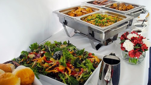 Hot food table onboard the cruise boat during the day time