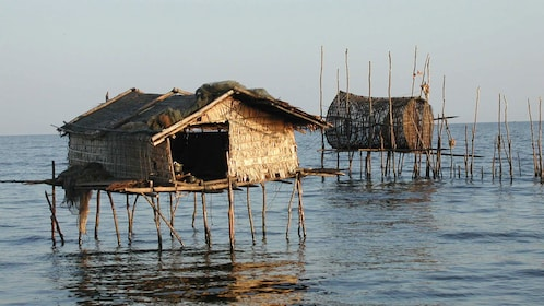 Traditional stilt houses on the water in Cambodia