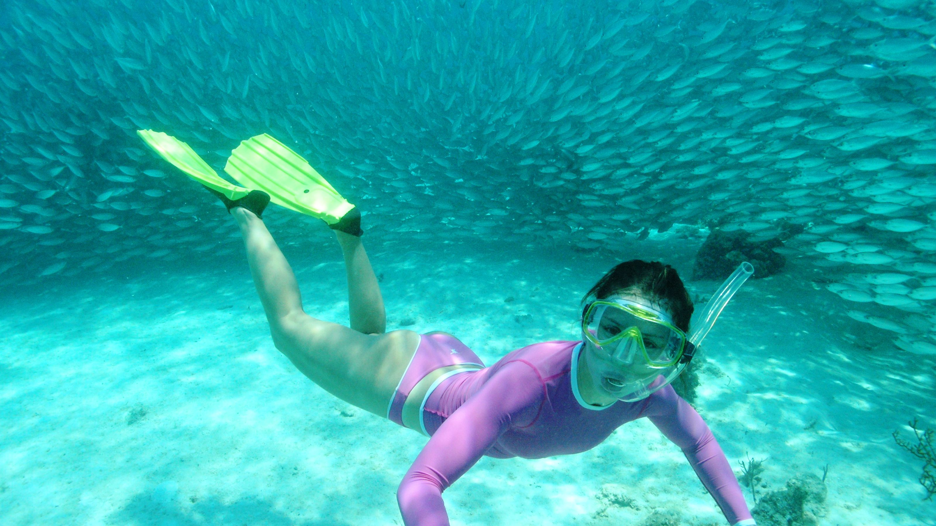 Snorkeler surrounded by fish in Cancun