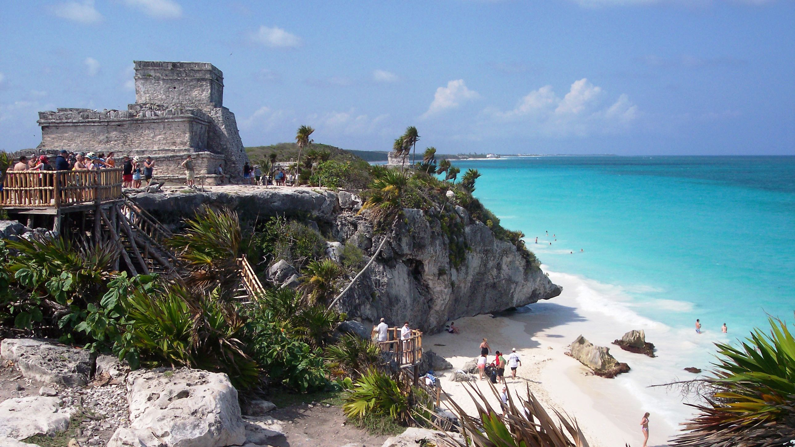 The ruins of Tulum and the beach below