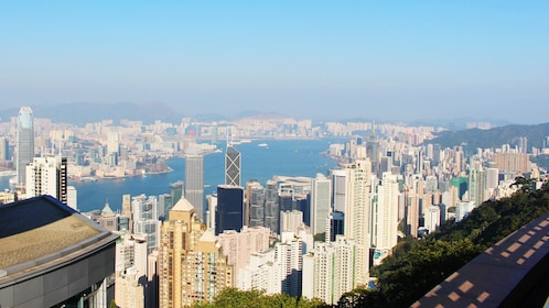 A great view of the city of Hong Kong from the mountains
