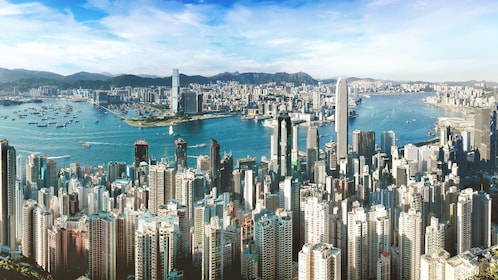 Spectacular view of the city and harbor in Hong Kong