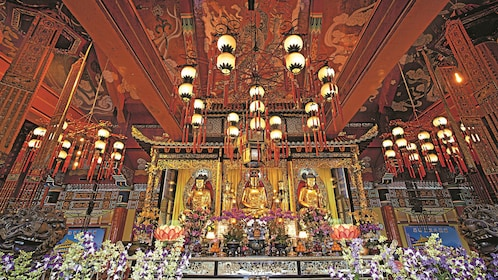 Intricate decorations inside the Lantau Island temple in Hong Kong
