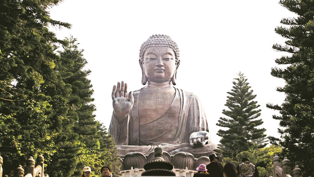 Show item 1 of 10. Giant Buddhist statue on Lantau Island in Hong Kong