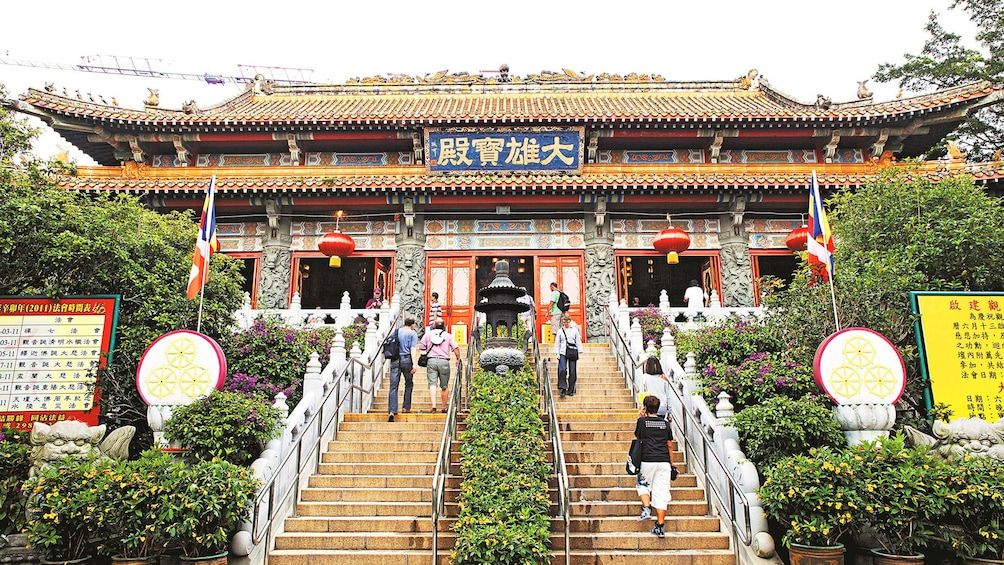 Show item 2 of 10. Stairways to the temple on Lantau Island in Hong Kong