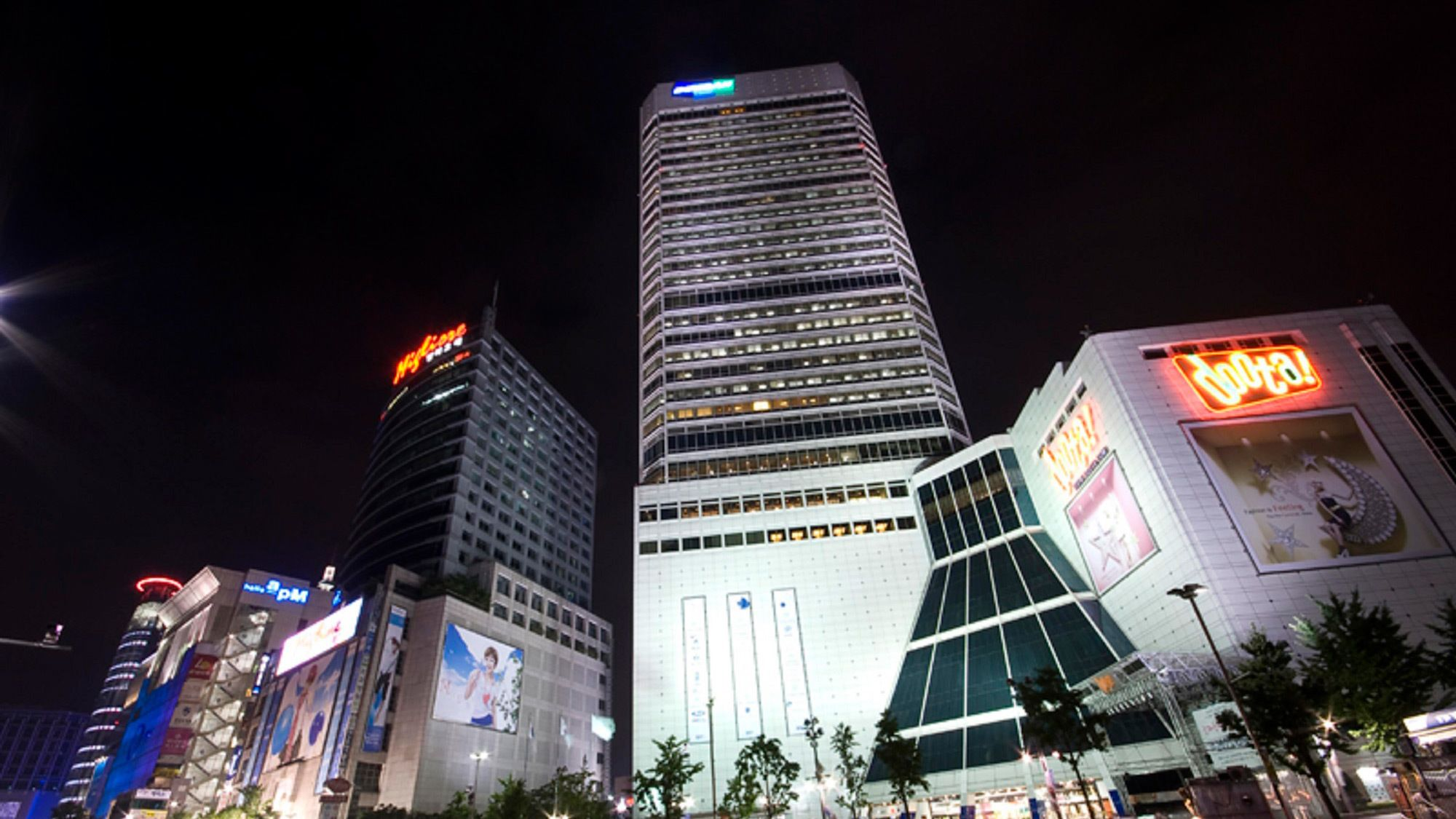 Beautiful night view of the skyscrapers in Seoul