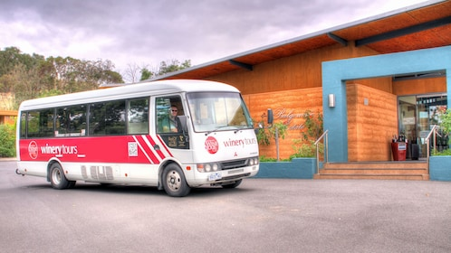 Winery Tours bus parked outside a winery in Yarra Valley