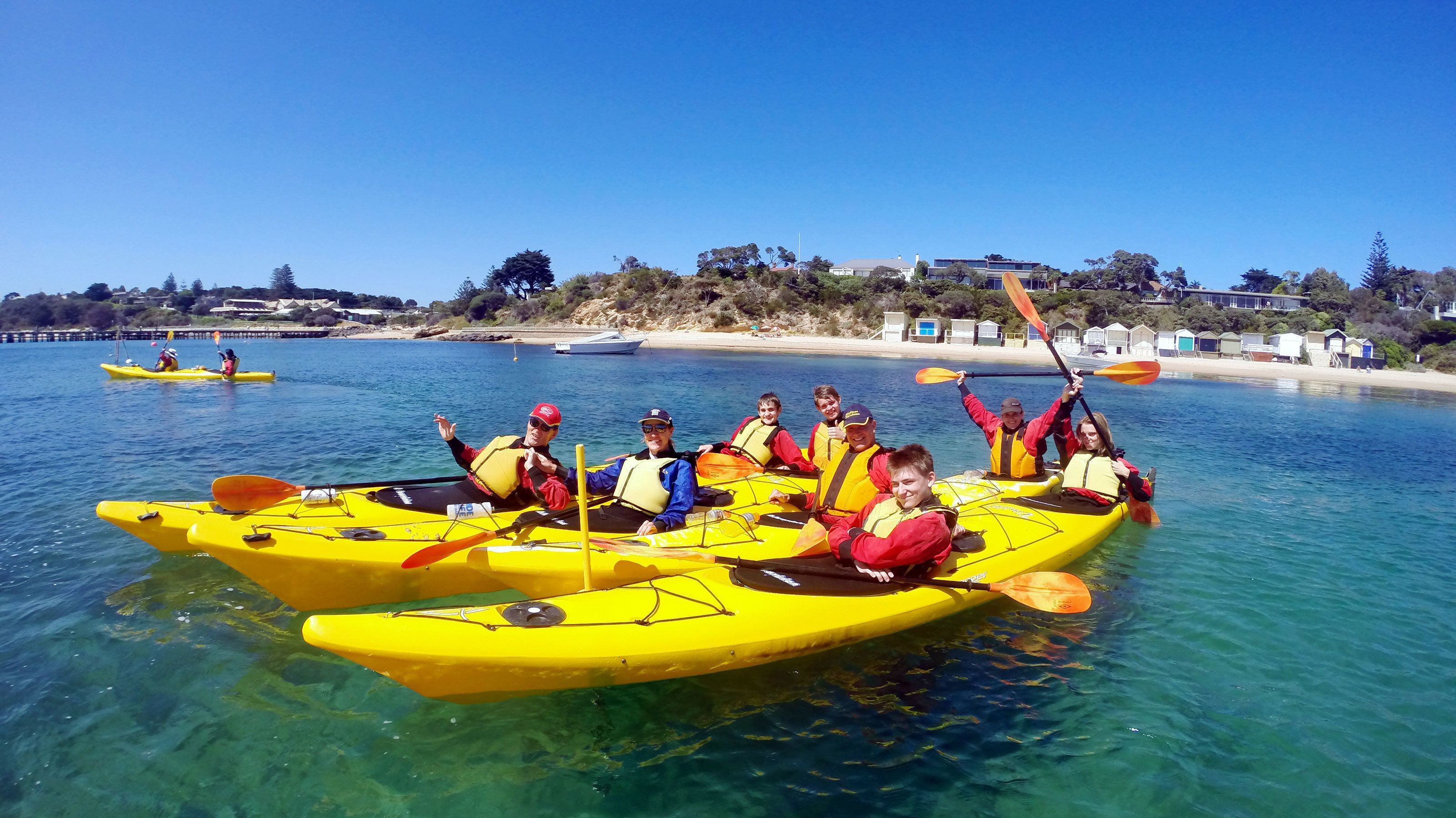 A group of kayakers at Mornington Peninsula