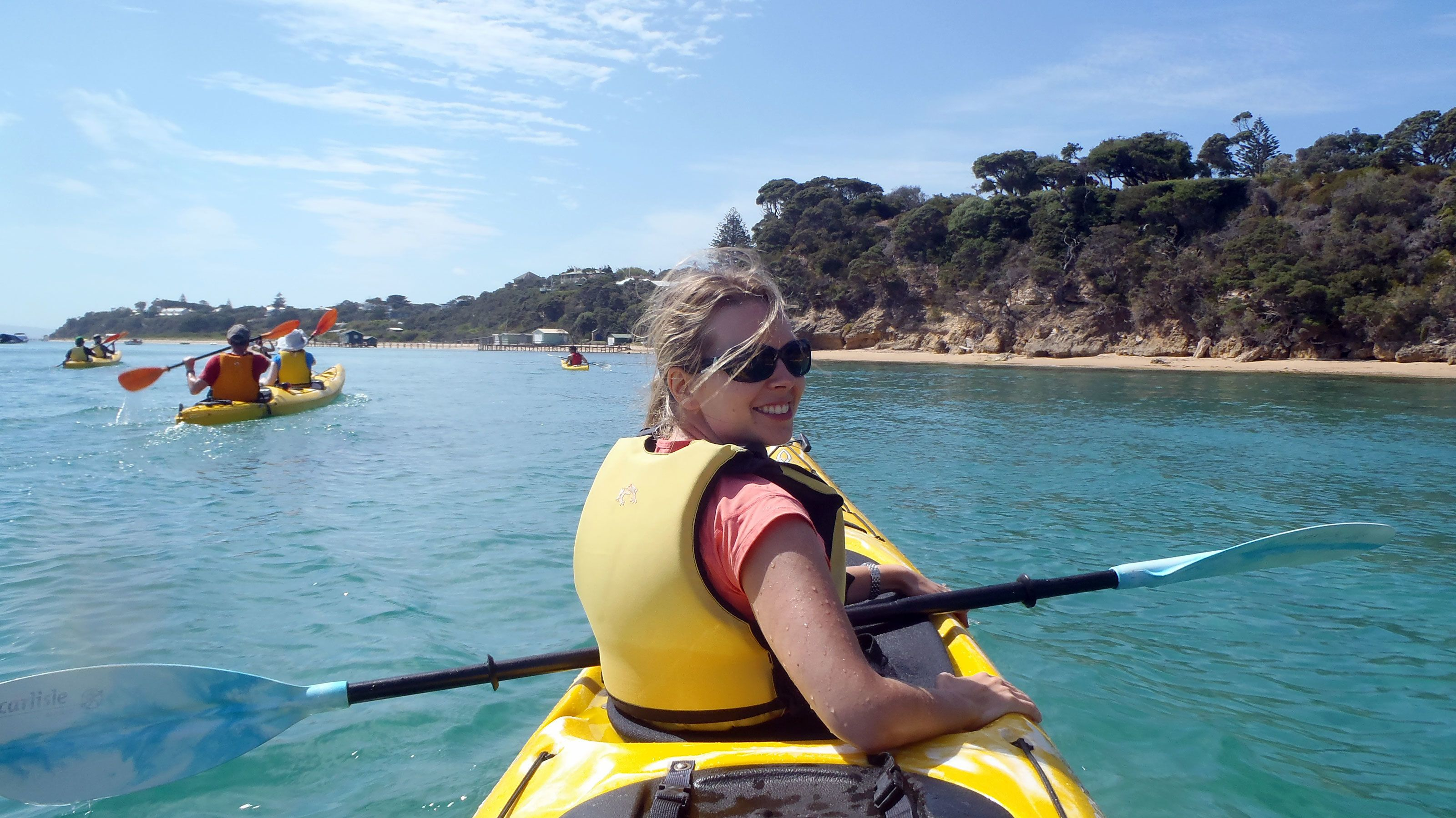 Two people in a sea kayak at Mornington Peninsula