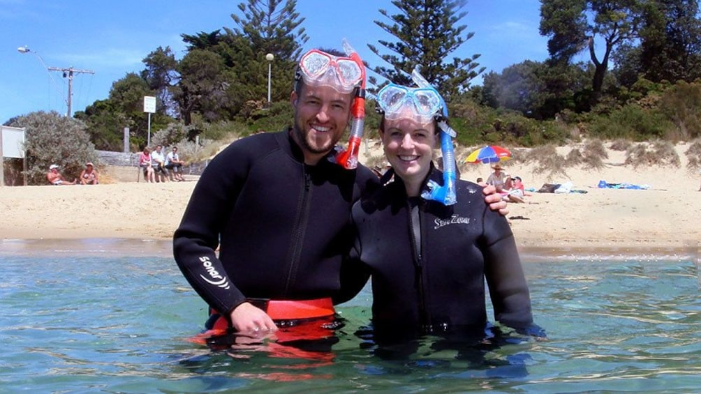 Show item 5 of 5. Two snorkelers at Mornington Peninsula