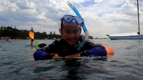 A snorkeler in the water at Mornington Peninsula
