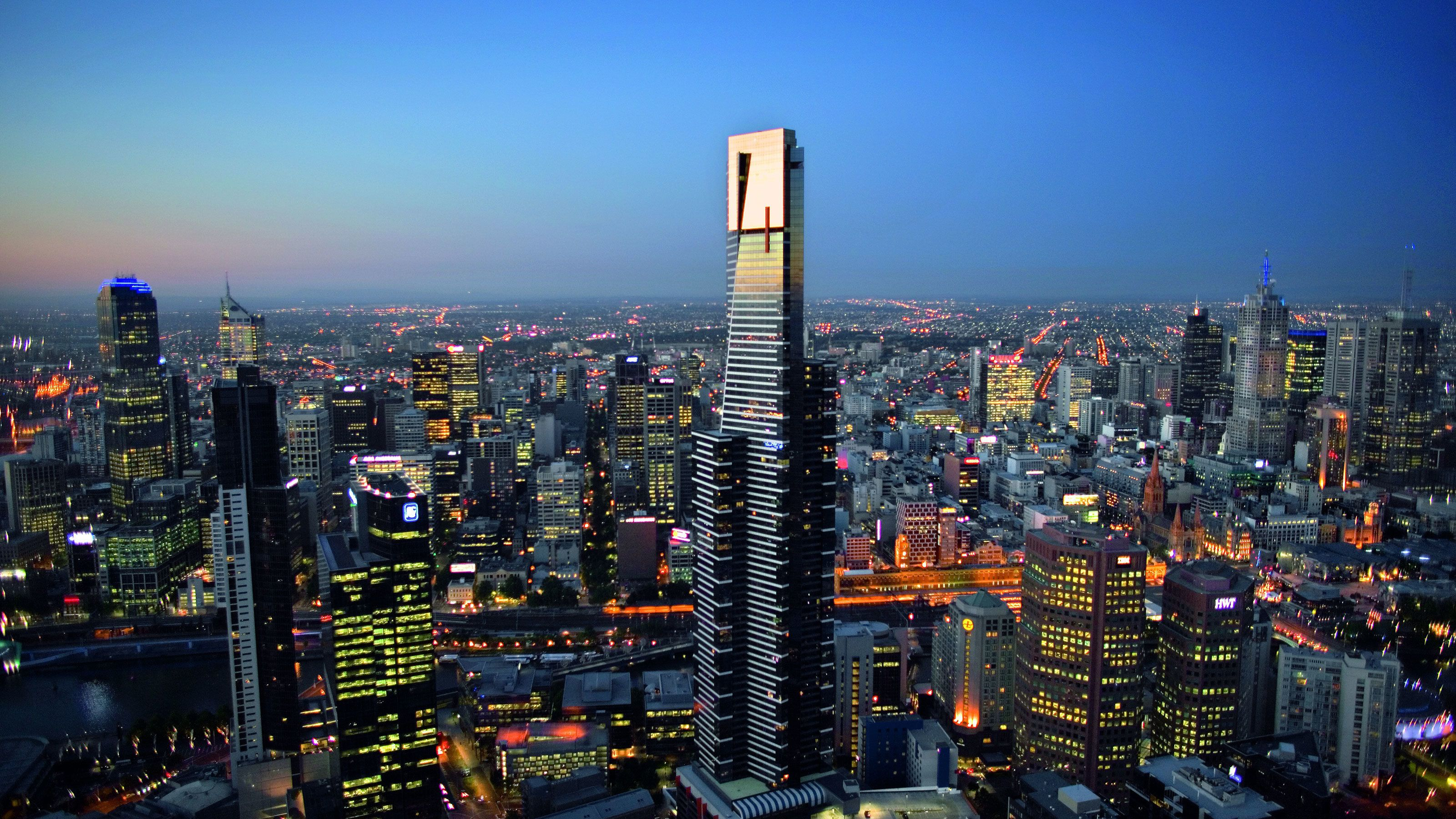 The Eureka Tower at night in Melbourne