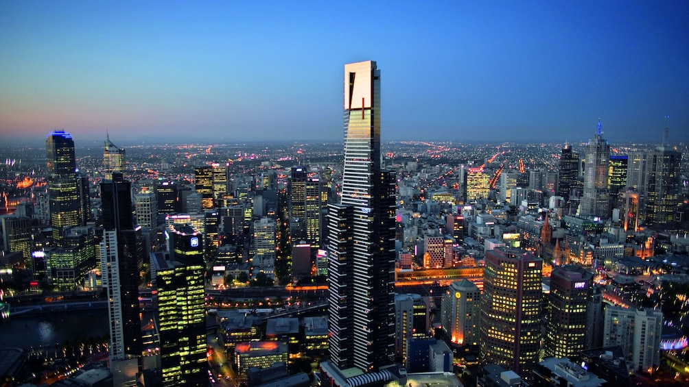 Show item 3 of 7. The Eureka Tower at night in Melbourne