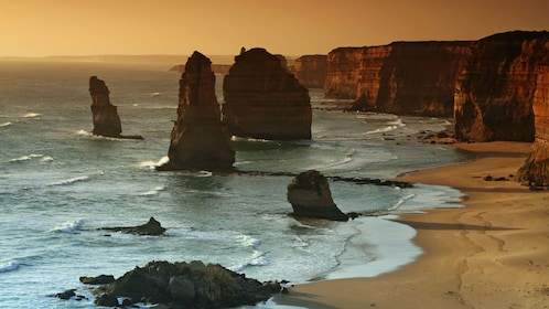 Sunsetting on the coastal cliffs and rock formations in Melbourne