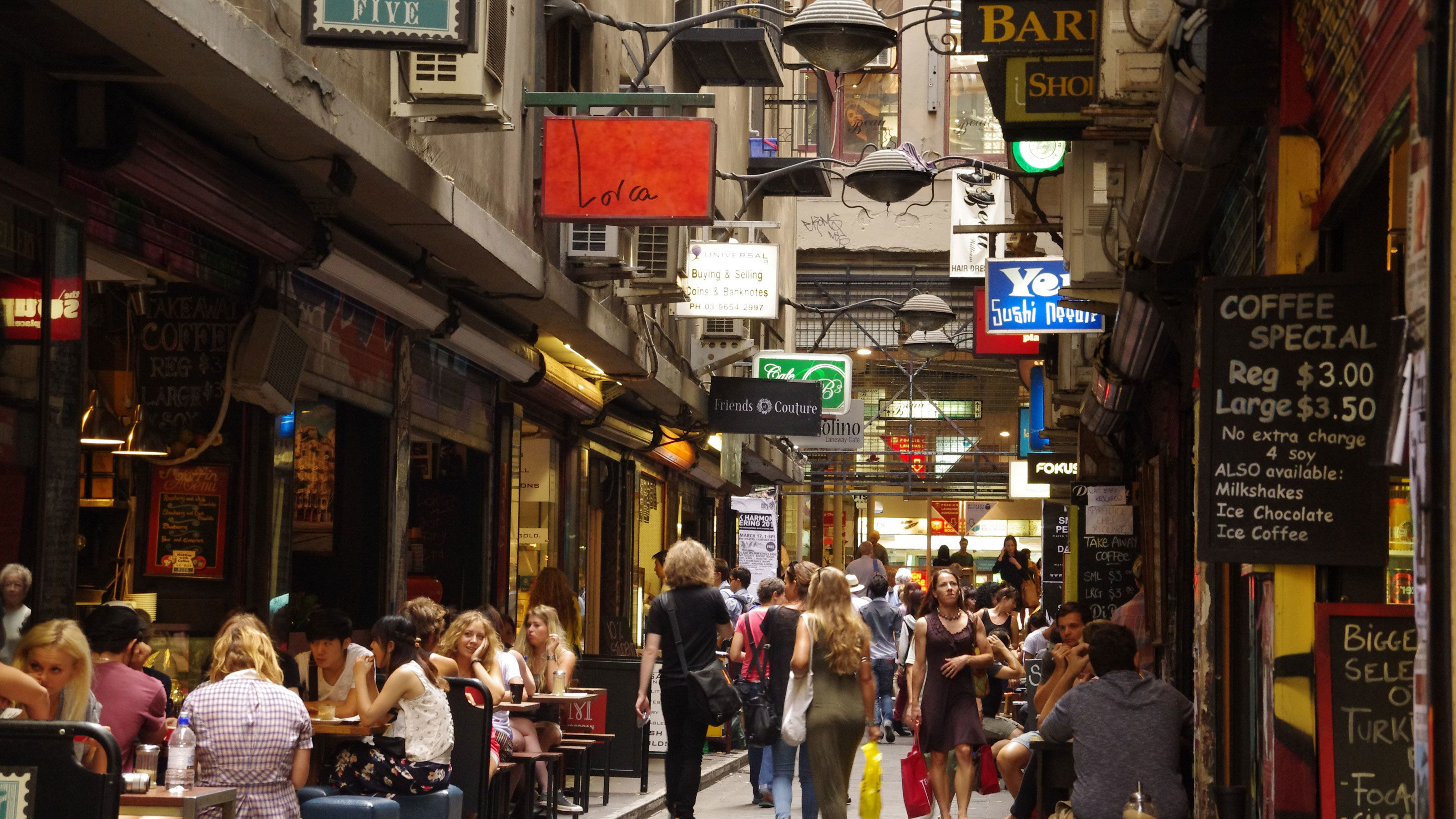 Narrow lane lined with shops and restaurants in the central business district of Melbourne