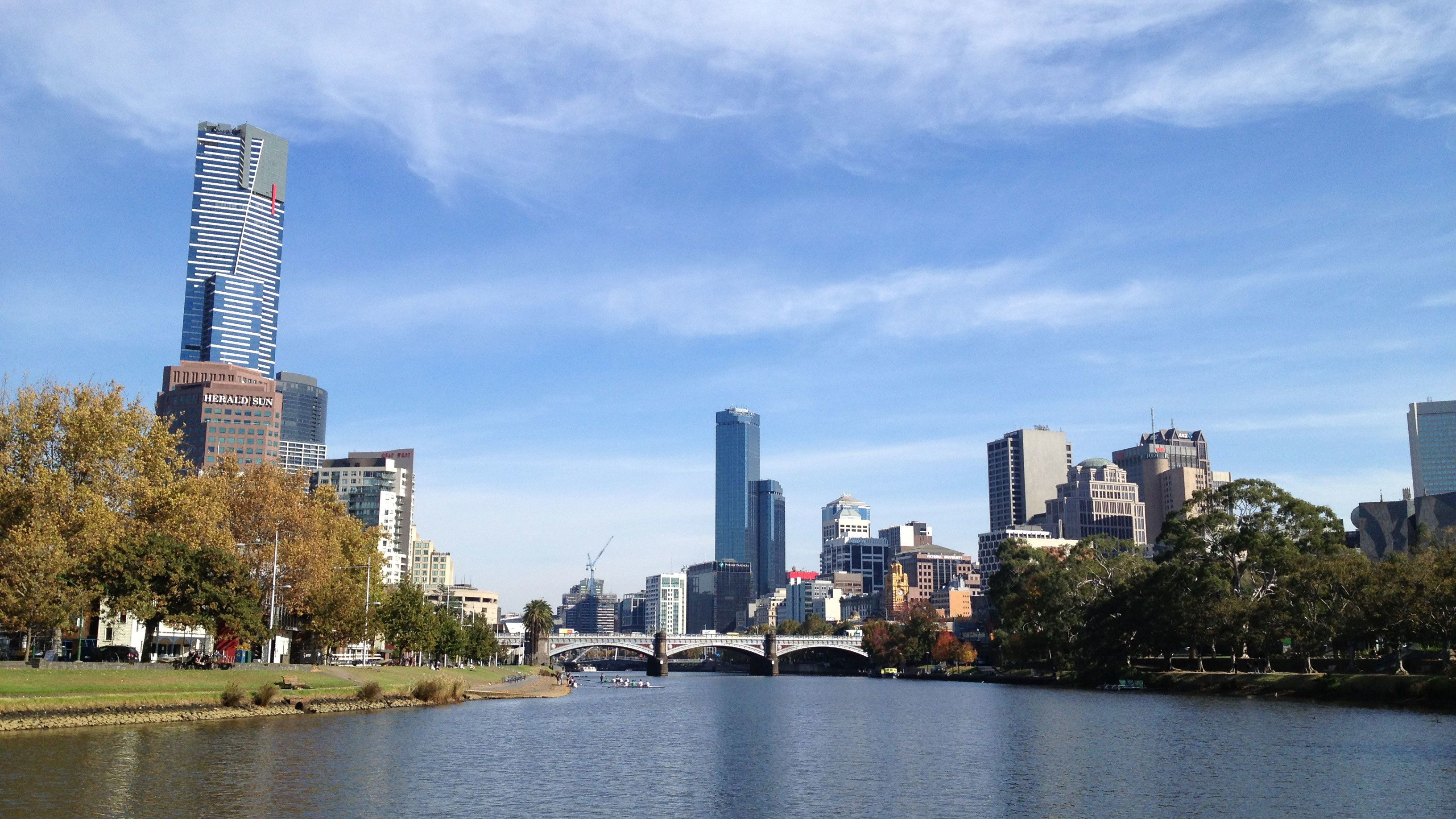 Yarra River with the city in the background in Melbourne