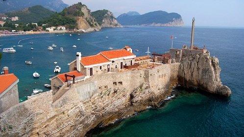 Old structures built into a cliff in Dubrovnik