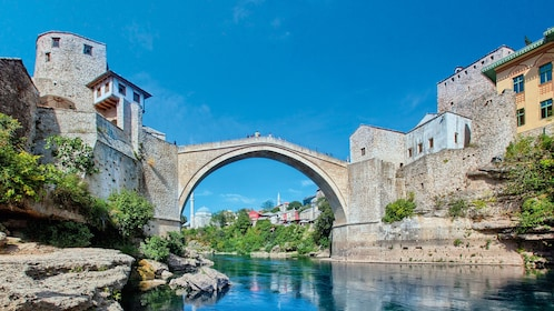 On top of the old bridge of Stari Most in Dubrovnik
