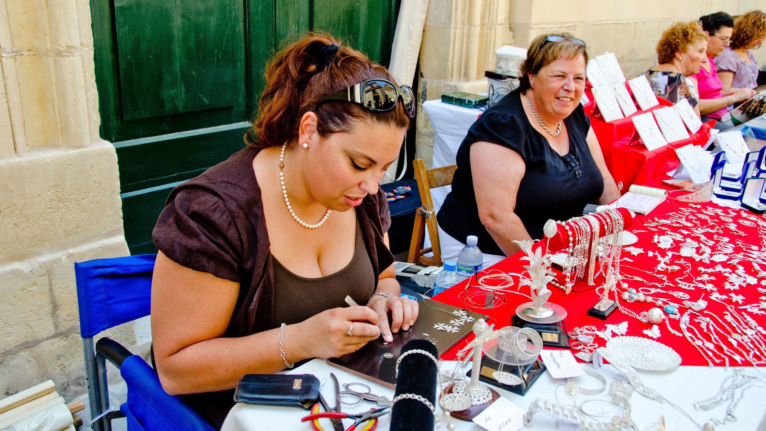 jewelry making at the market in Malta