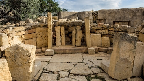 Stacked stone slabs at the prehistoric temples in Malta