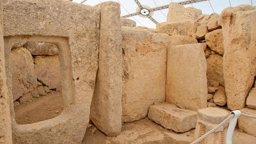 stone walls in the prehistoric temples in Malta
