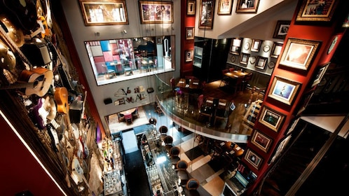Overhead view of the interior of the Hard Rock Cafe in Brussels