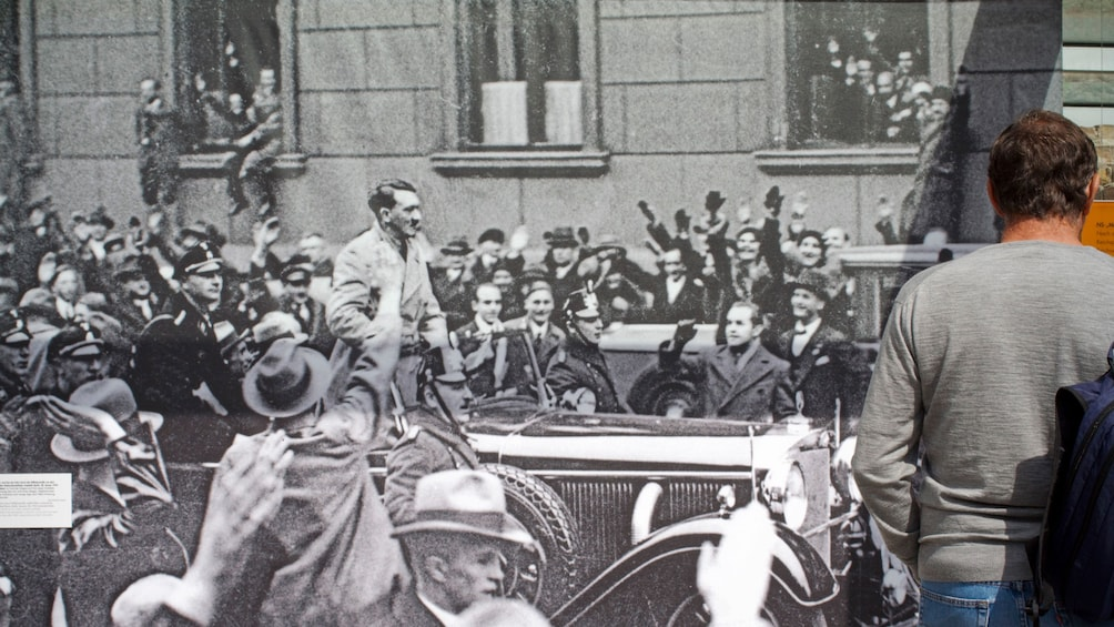 Show item 5 of 5. Large scale photo of Hitler in a car during a rally in Berlin