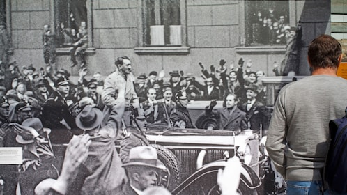Large scale photo of Hitler in a car during a rally in Berlin