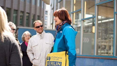 Tour group infront of a modern building in Berlin