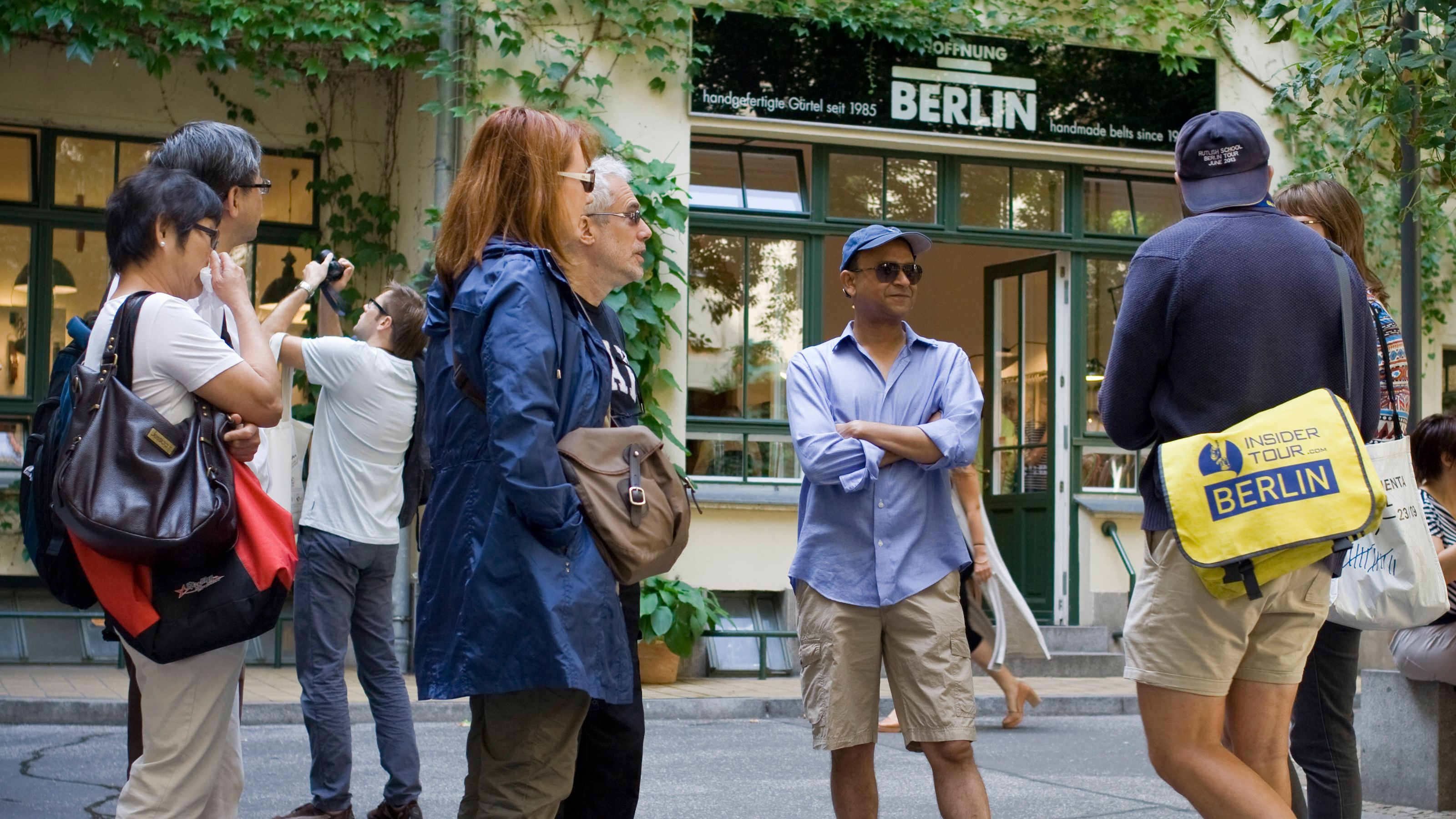 Tour group taking pictures in Berlin