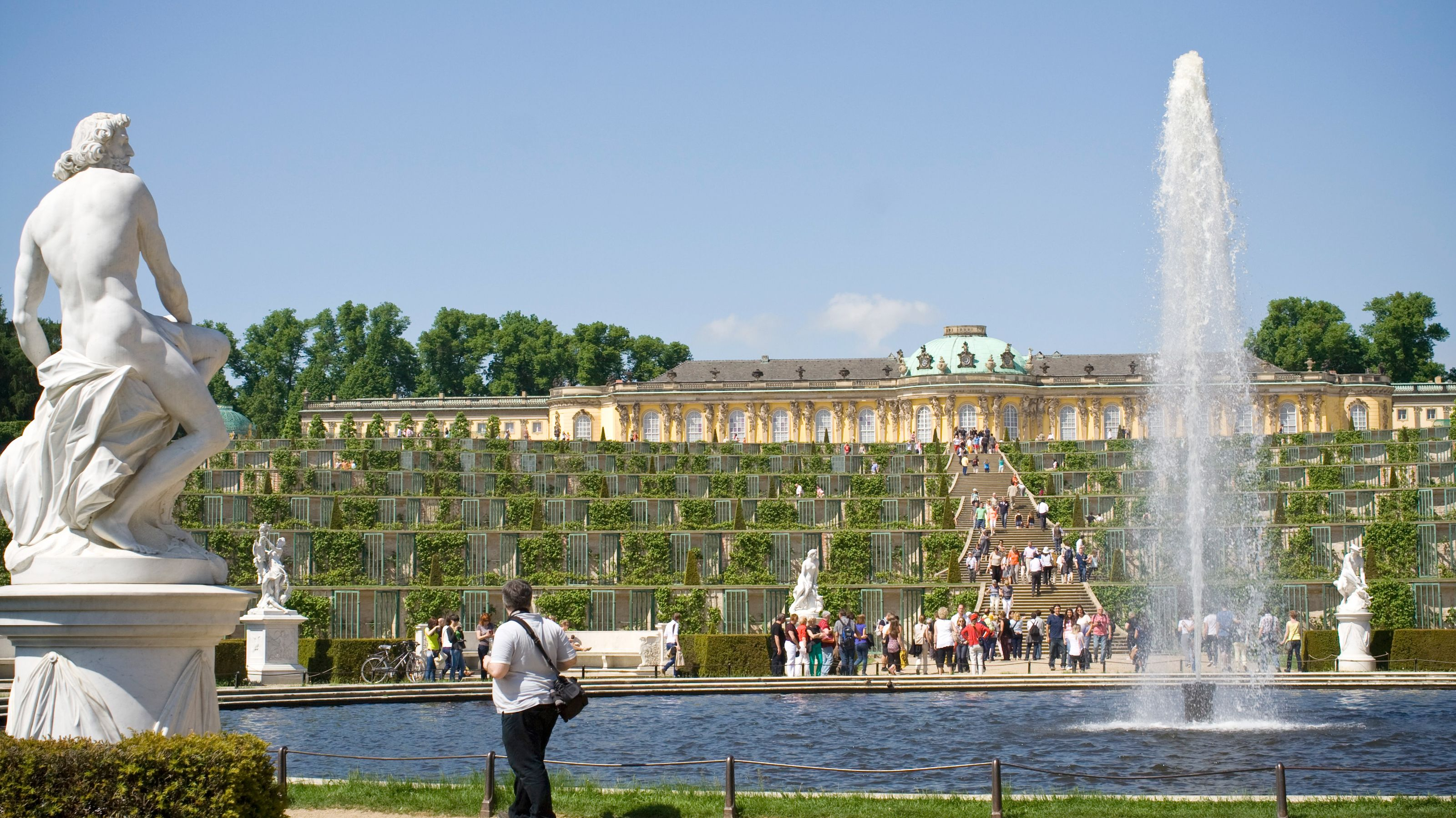 Statues and fountains in the gardens of Sanssouci Palace in Potsdam