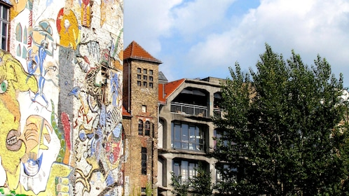 Graffiti covered walls on a building in Berlin