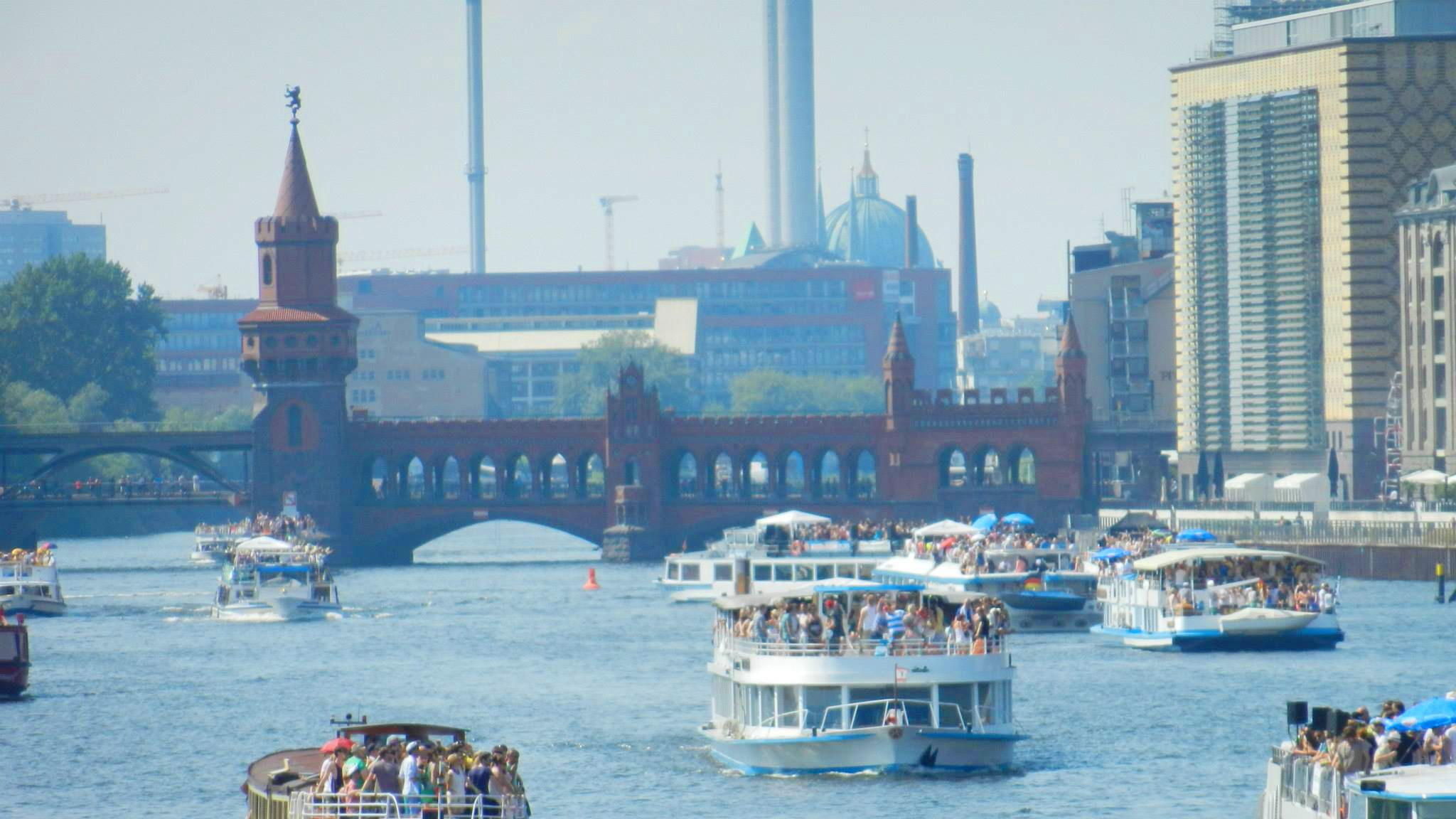 Boats sailing down the Spree river in Berlin