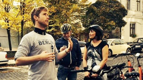 Tour group with bikes in Berlin