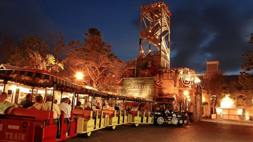 The Conch Tour Train at night in Key West