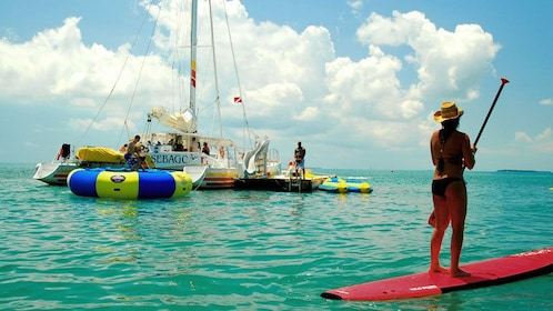 Paddleboarding near the sailboat in Key West