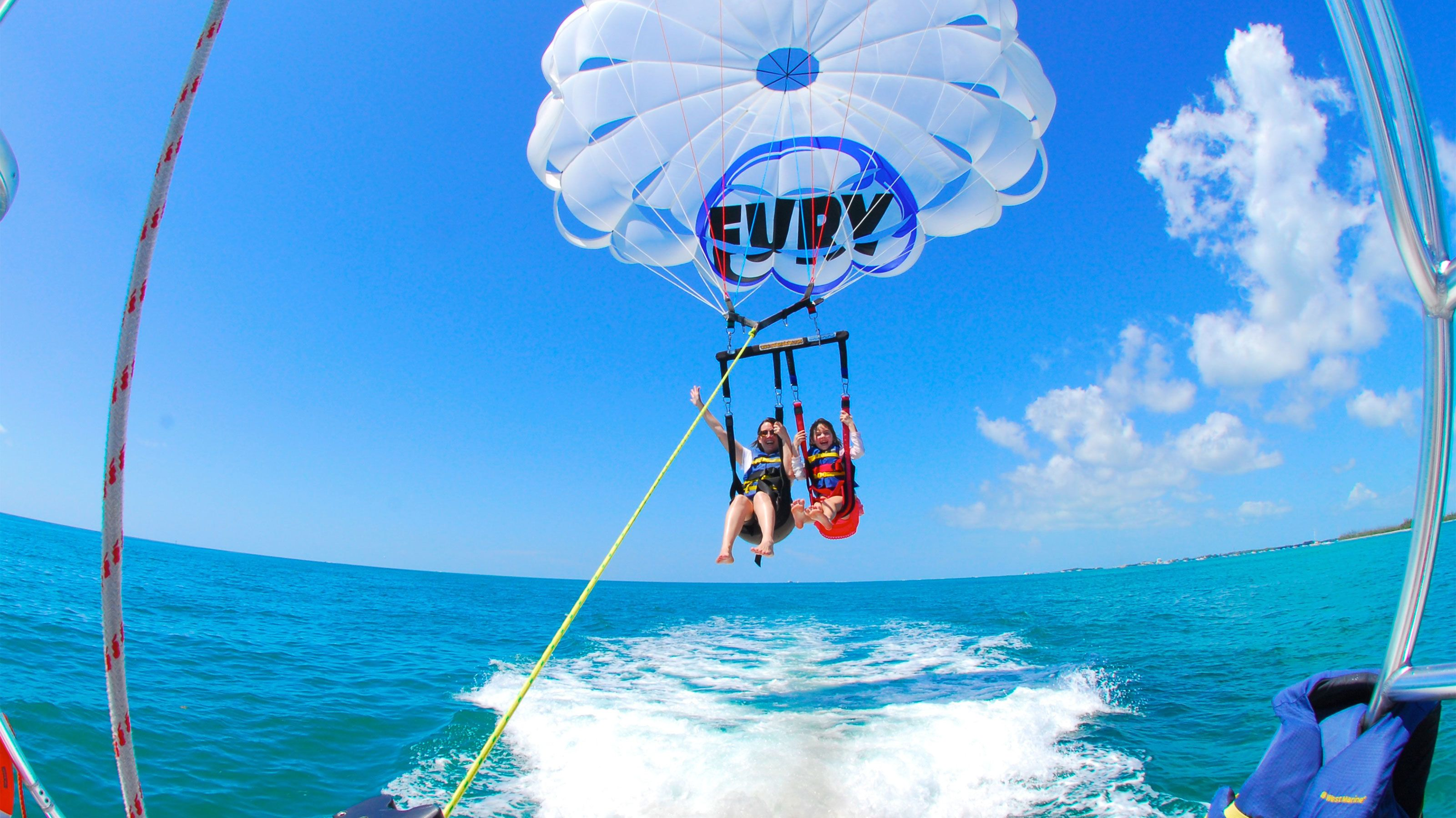 Mother and daughter parasailing in Key West