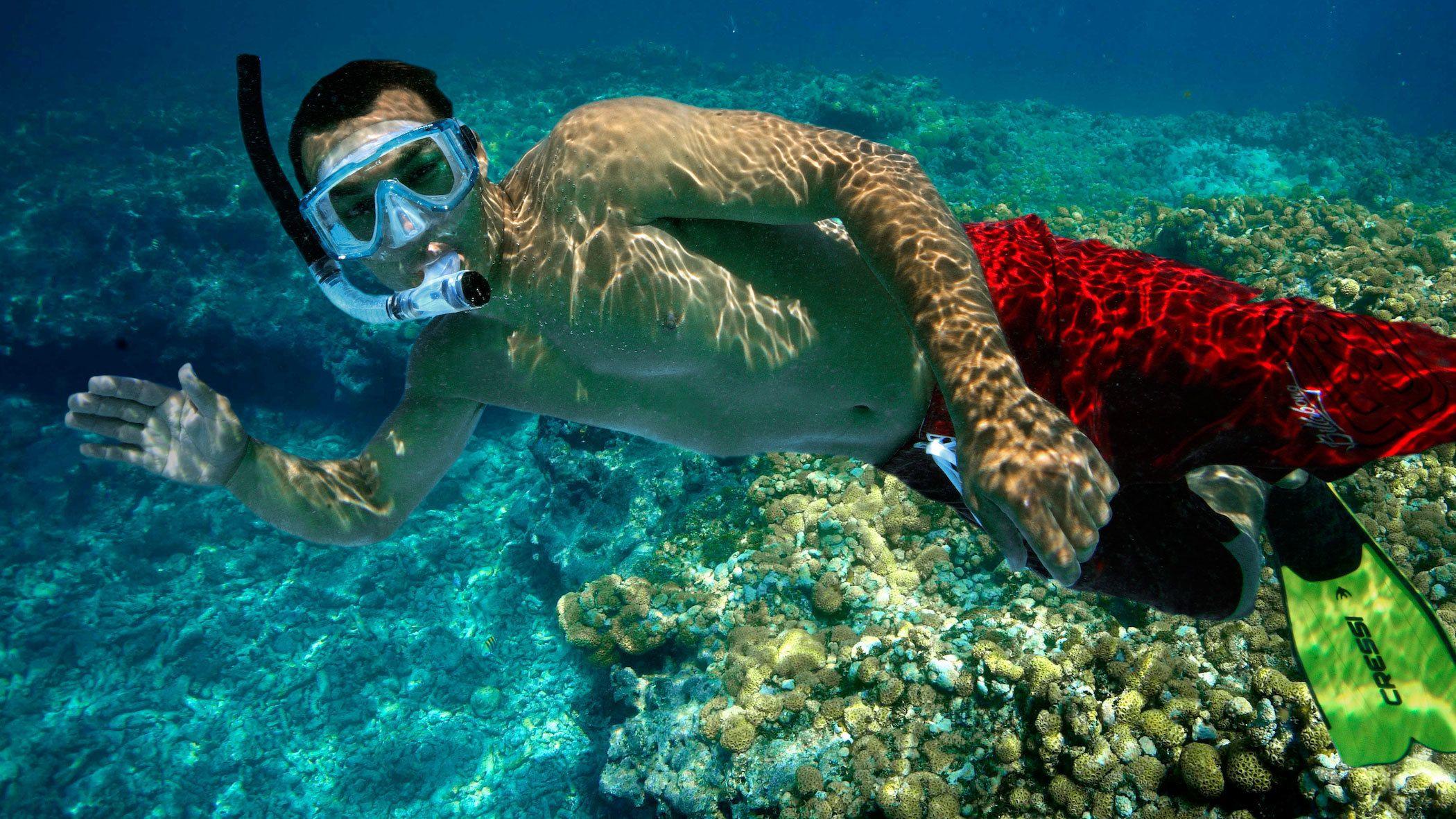 Snorkler waving underwater in Key West