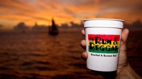 Having rum in the sunset at Key West