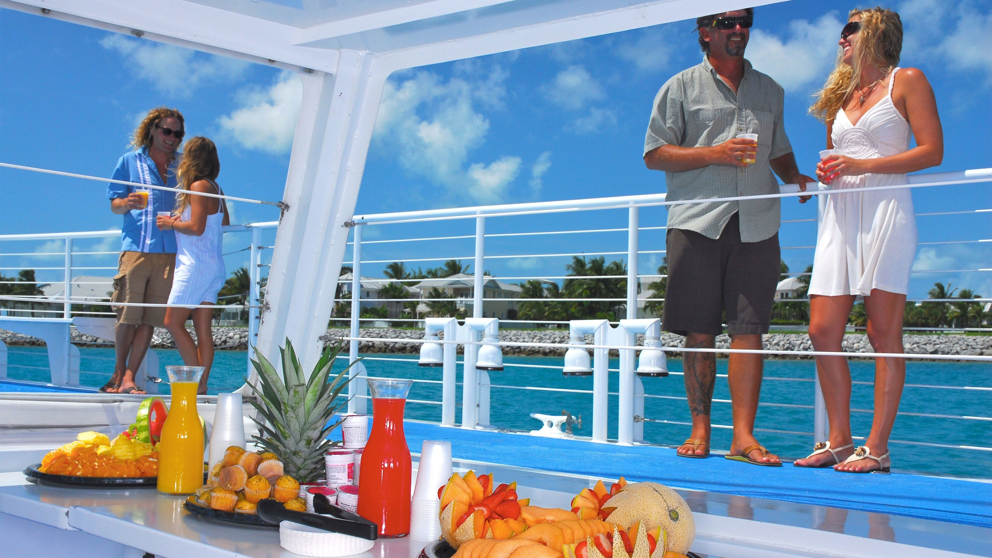Fruits and pastries available on the boat in Key West