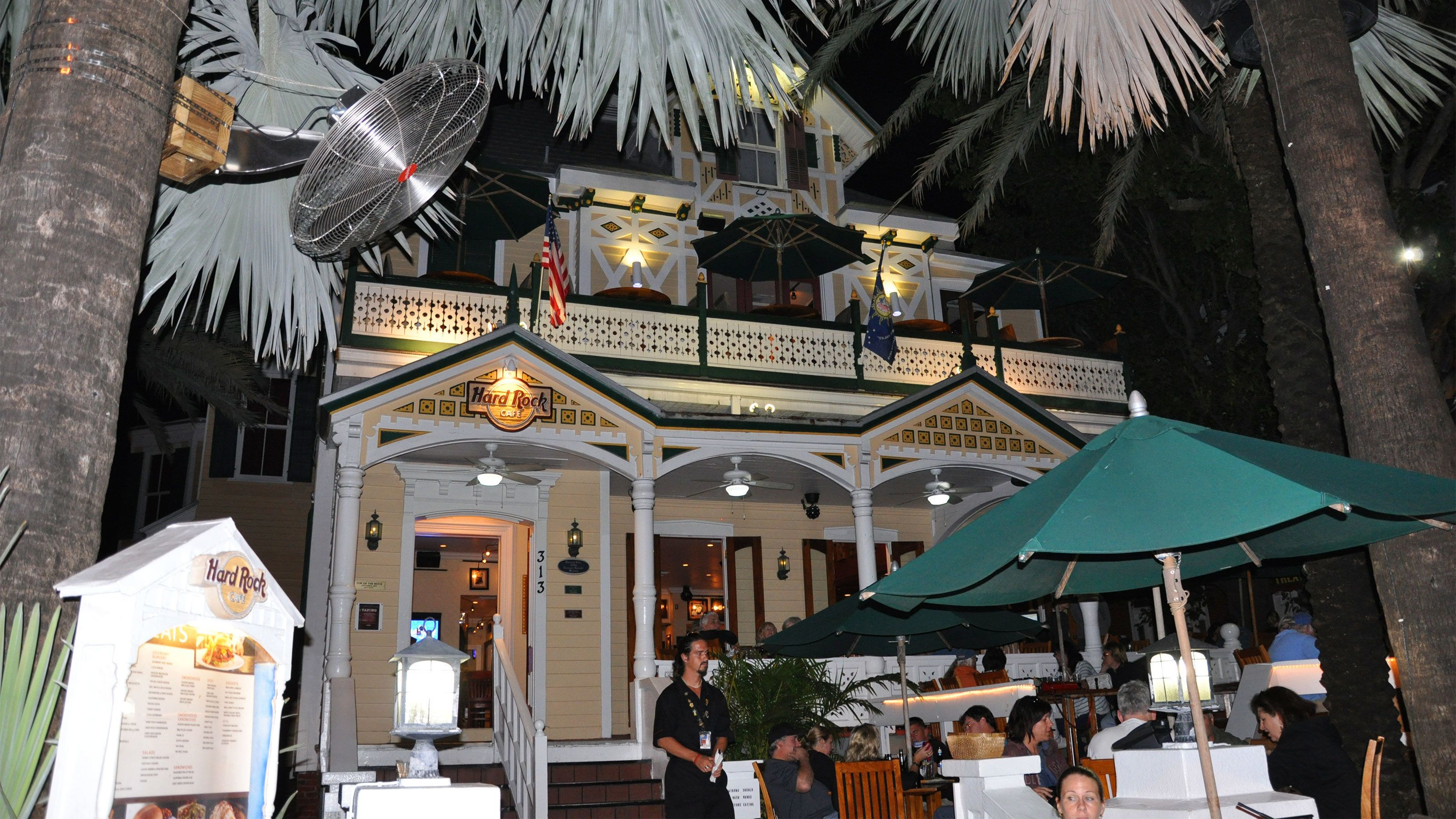 Dining outside the Hard Rock Cafe in Key West
