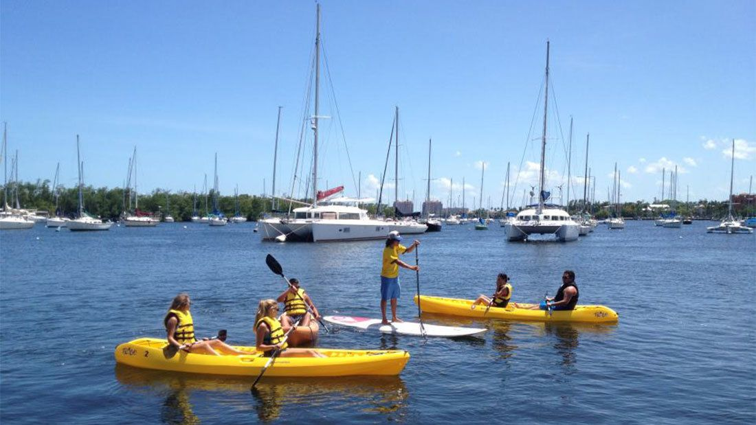 Group of kayakers in Miami