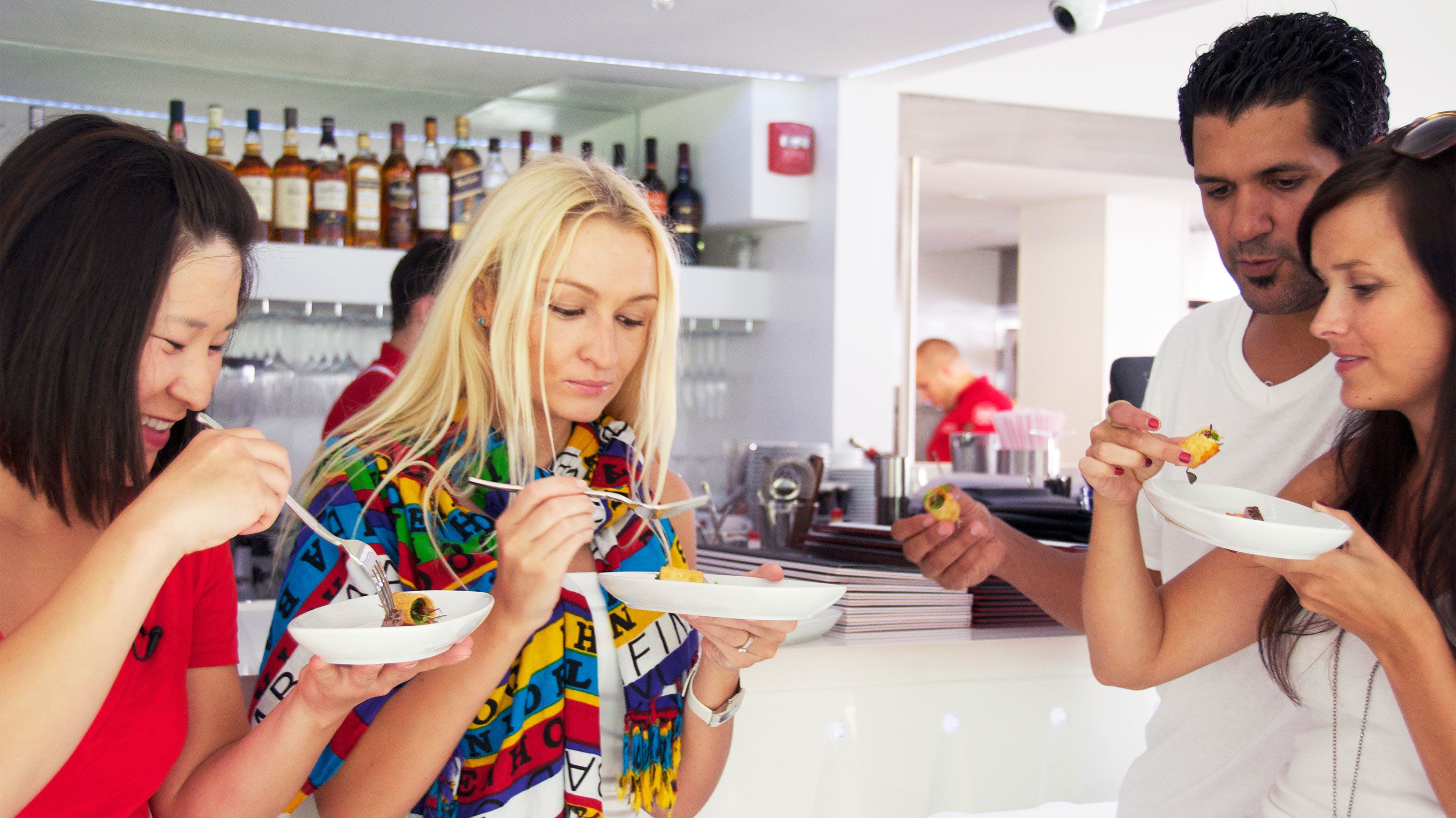 Group testing food on the South Beach food tour