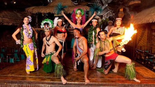 Performers on stage at the Mai Kai Polynesian Dinner Show in Fort Lauderdale