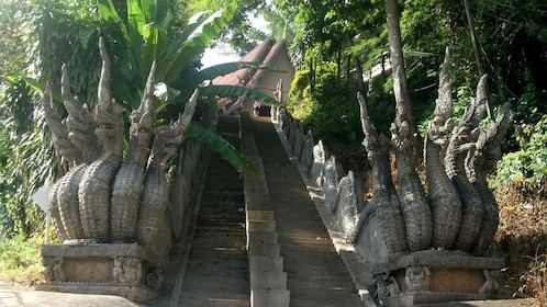 Stairway lined with statues in Chiang Mai