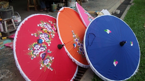 Brightly painted parasols in Chiang Mai